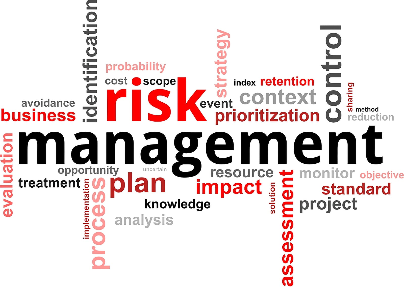 Word cloud concept image centred on the phrase Risk Management, with various other related words also included