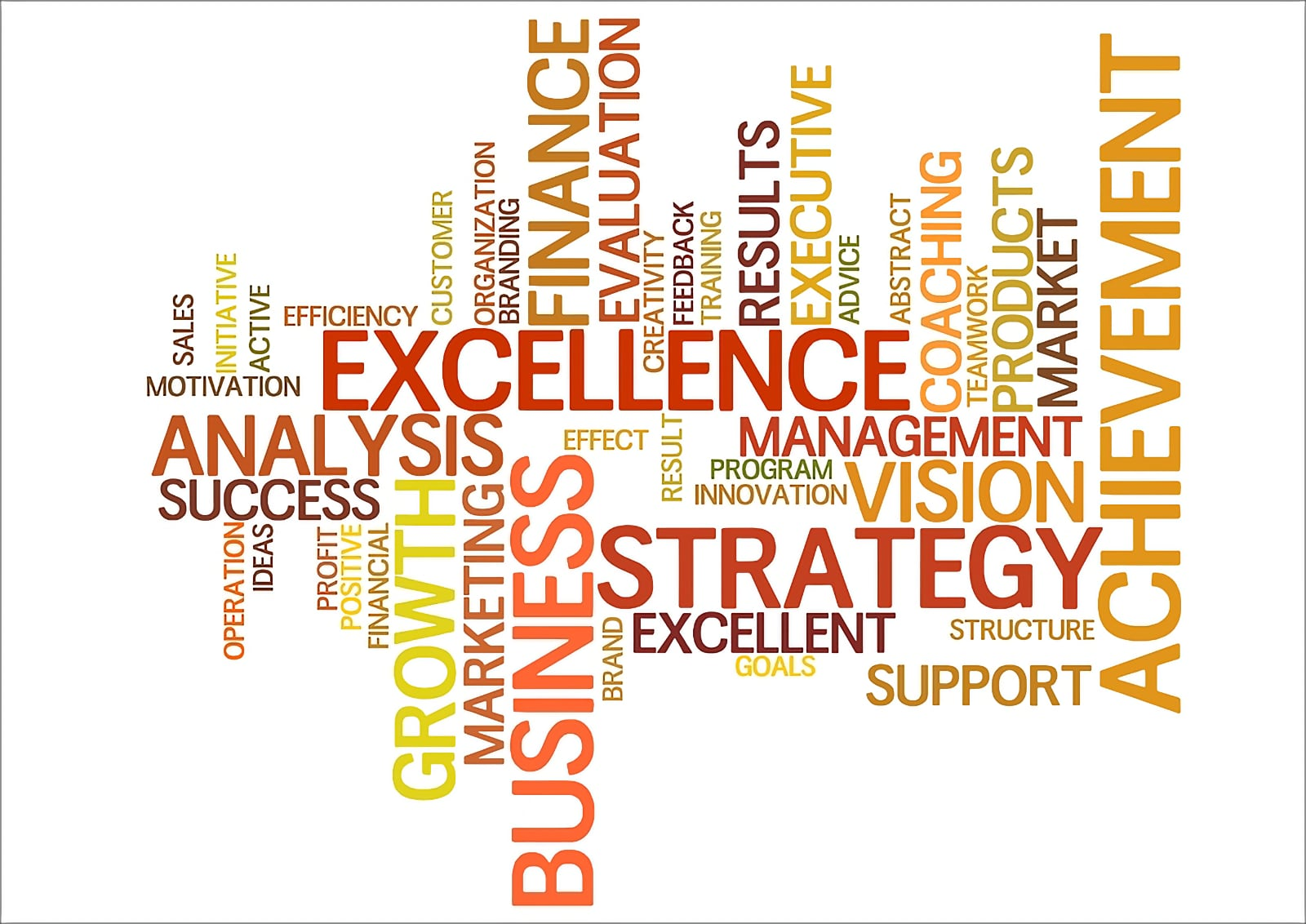 Word cloud image centred on the word Excellence, and including a range of related words and phrases