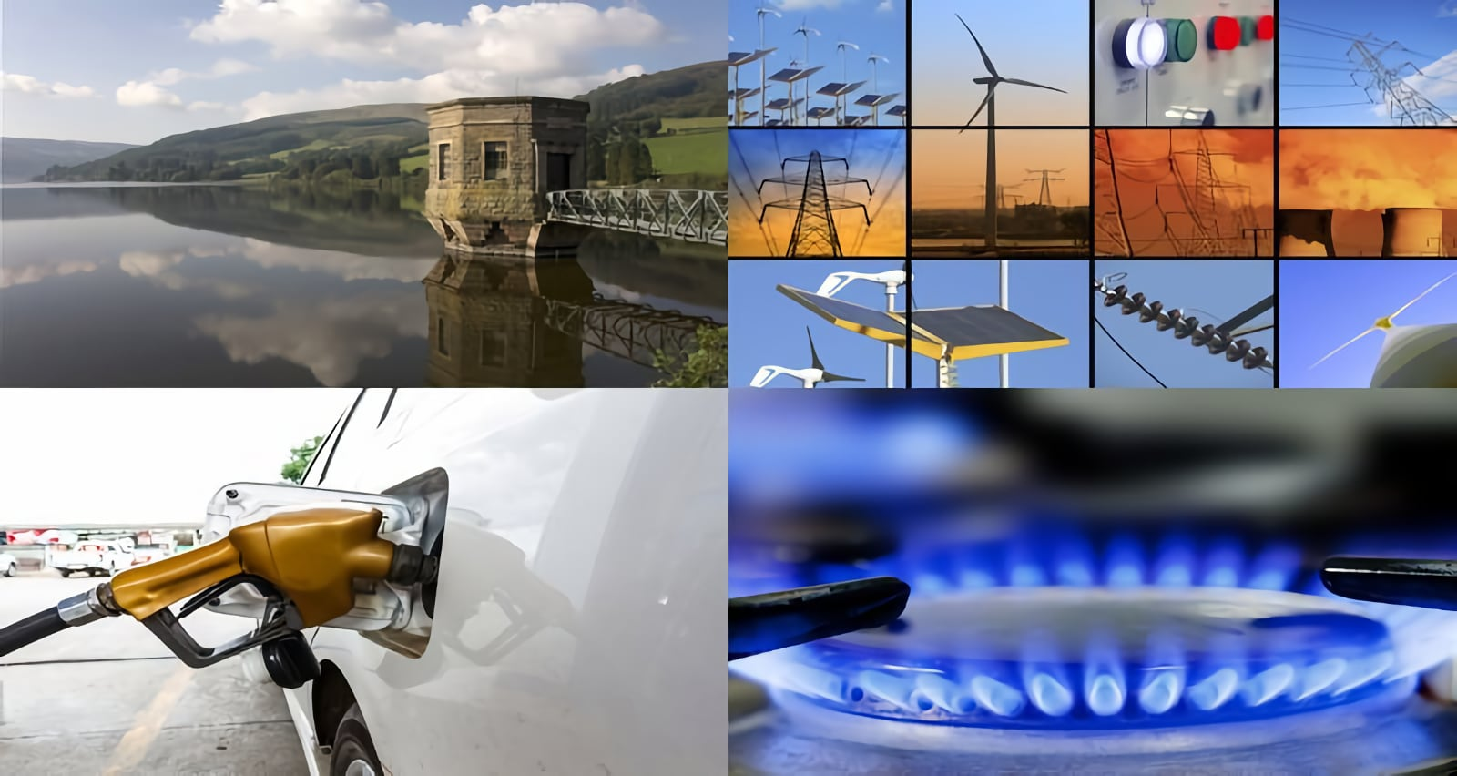 Photo collage of energy sectors, water, electricity, oil, gas, renewables