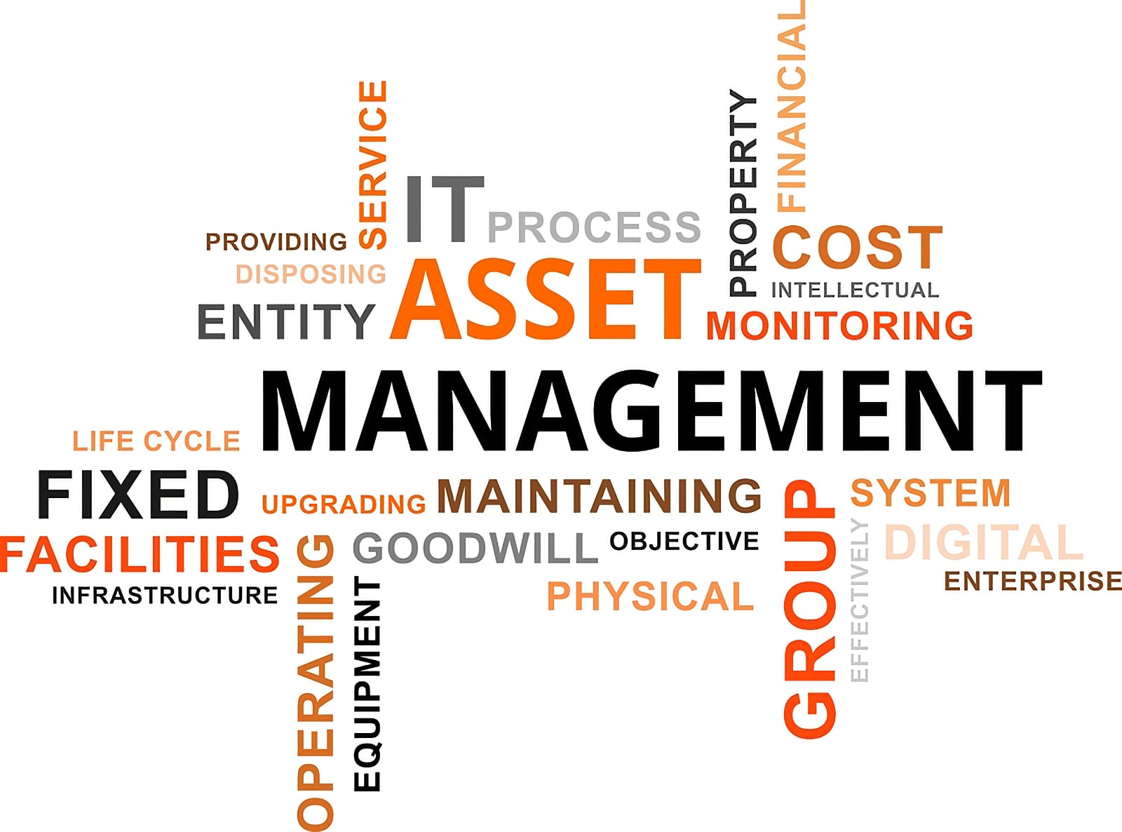 Word cloud concept image centred on asset management, plus other related words and terms relevant to managing company or organisational assets