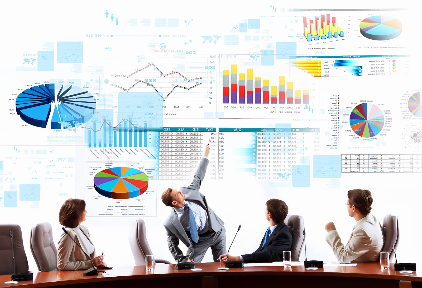 Concept photo image showing 3 smart business men and 1 business woman, all seated, looking up at wall-sized screen made up of charts, graphs, and spreadsheet data files