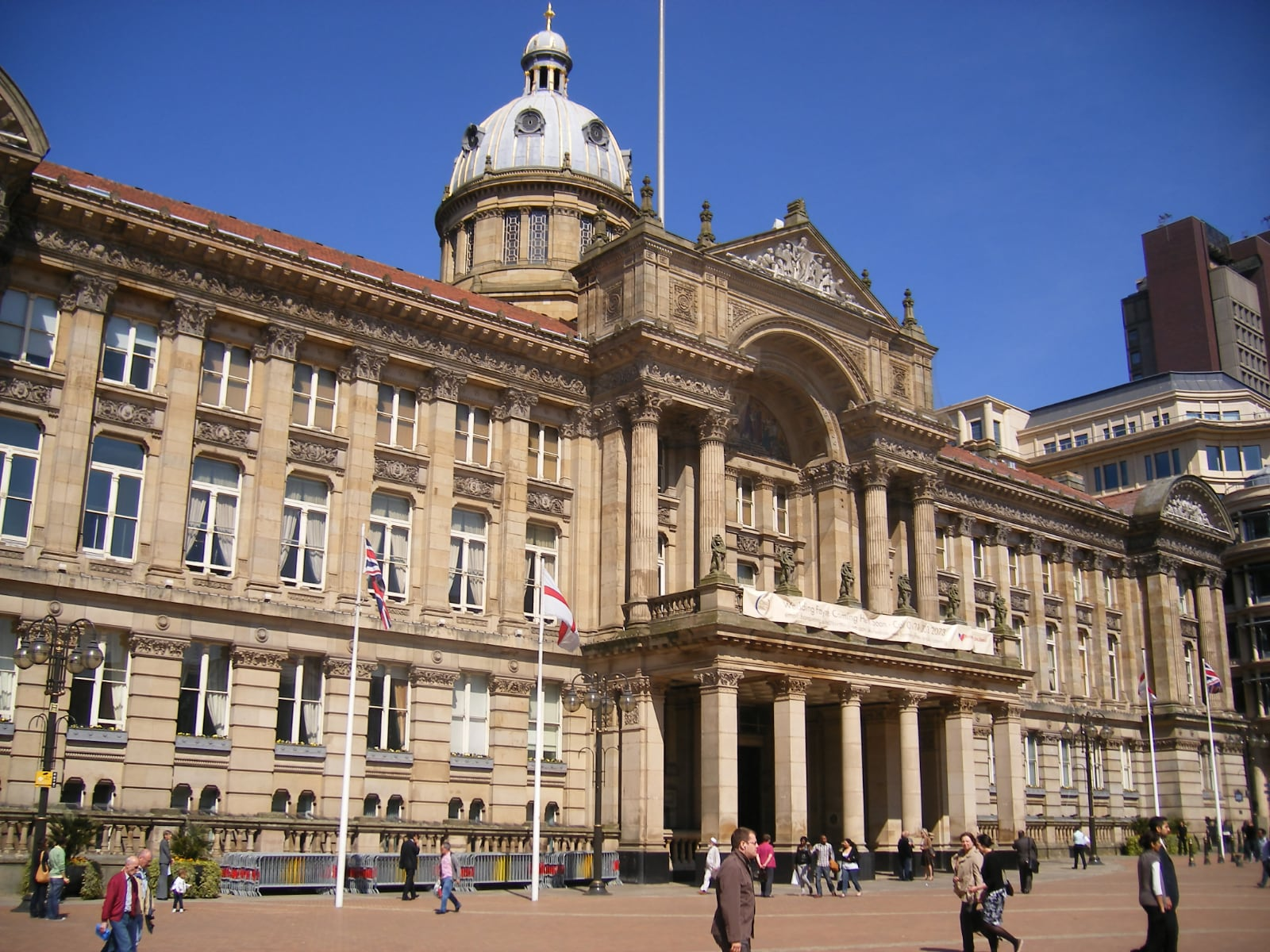 Photo of Birmingham UK City Council building front facade in front of clear blue sky