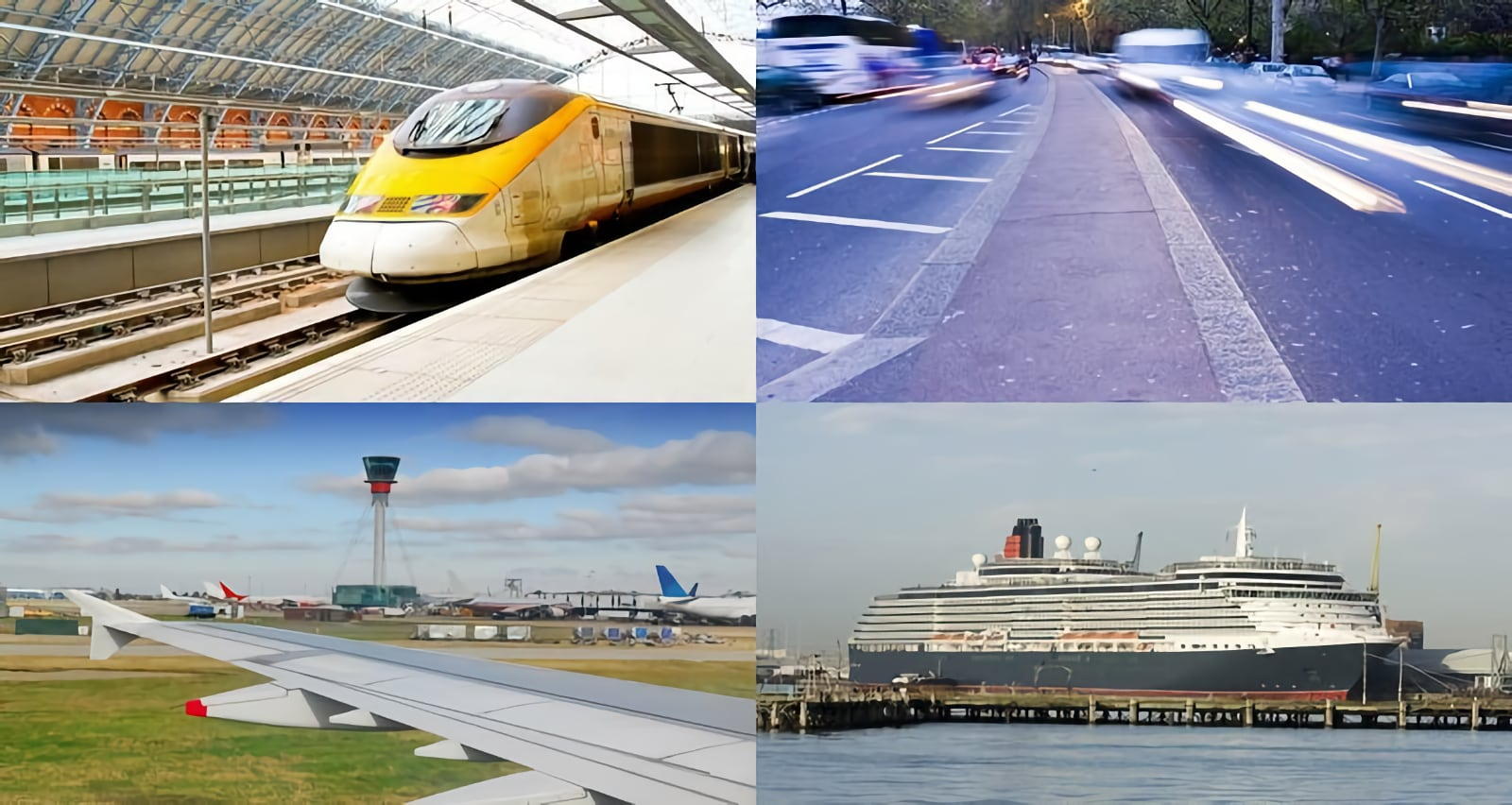 Collage of four phtos, fast train in railway station, a time-laps photo of a road showing speeding cars, a photo showing the wing of a large passenger aeroplane, and a large shipping liner in the harbour