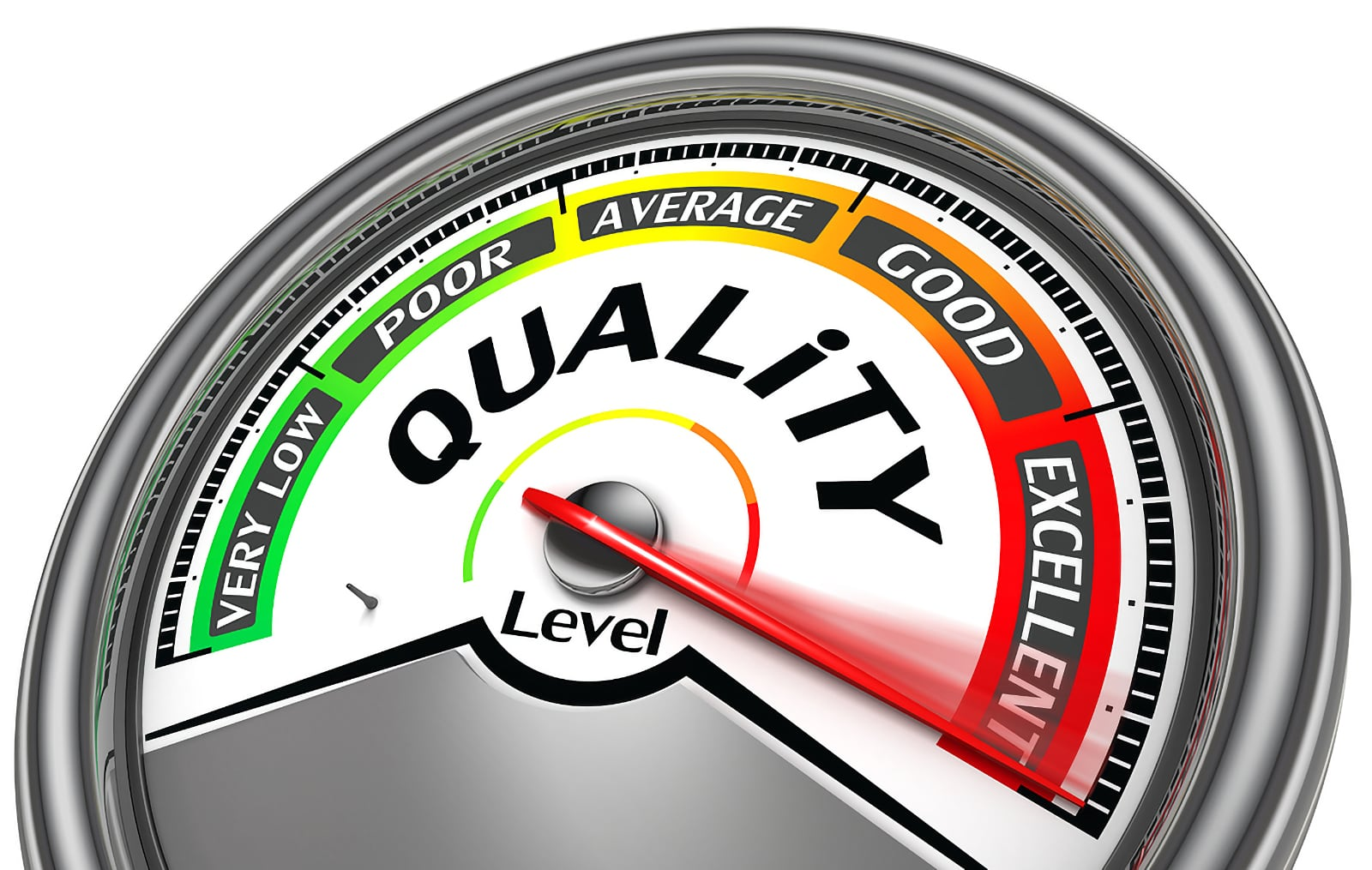 Quality level meter image concept, with meter pointer pointing at Excellence level
